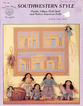 Image for Southwestern Style Pueblo Village Wall Quilt and Native American Dolls