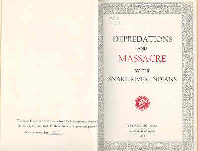 Image for Depredations and Massacre By the Snake River Indians