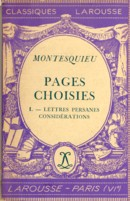 Image for Montesquieu Pages Choisies I Lettres Persanes Considerations
