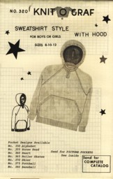 Image for Sweatshirt Style with Hood for Boys or Girls Sizes 8 10 12 Pattern No. 320