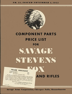 Image for Component Parts Price List for Savage, Stevens, Fox Shotguns and Rifles No. 51