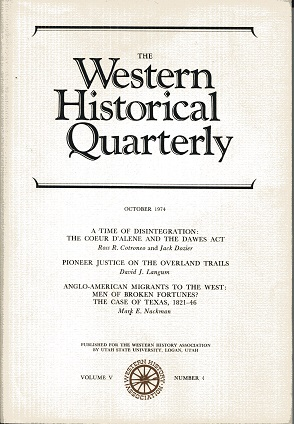 Image for The Western Historical Quarterly October 1974 Volume V Number 4