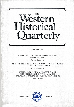Image for The Western Historical Quarterly January 1982 Volume XIII Number 1