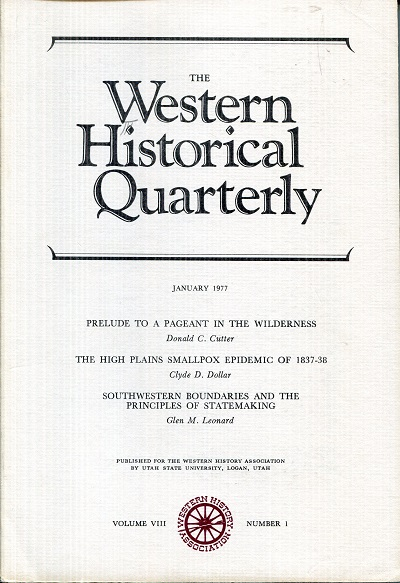 Image for The Western Historical Quarterly January 1977 Vol VIII Number 1