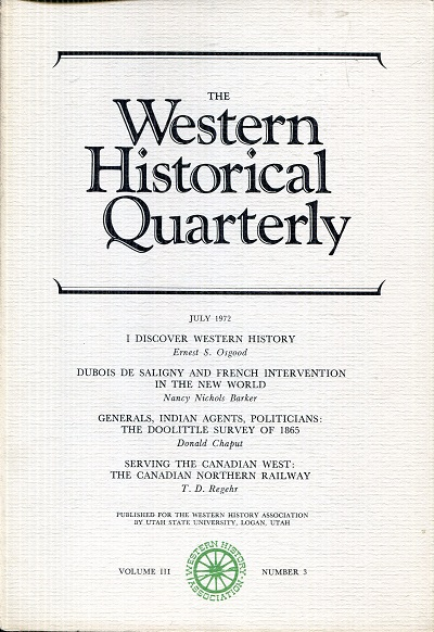 Image for The Western Historical Quarterly July 1972 Volume III Number 3