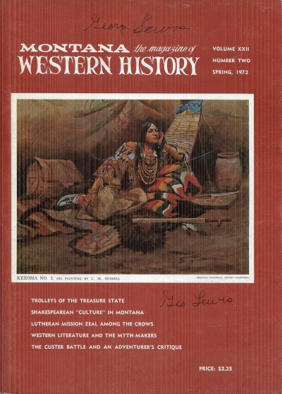 Image for Montana Western History Spring 1972 Volume XXII No. 2