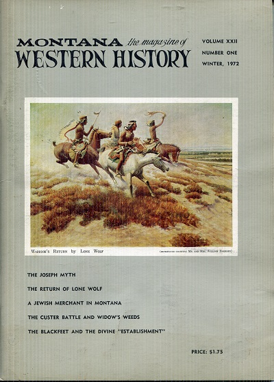 Image for Montana Western History Winter 1972 Volume XXII Number One